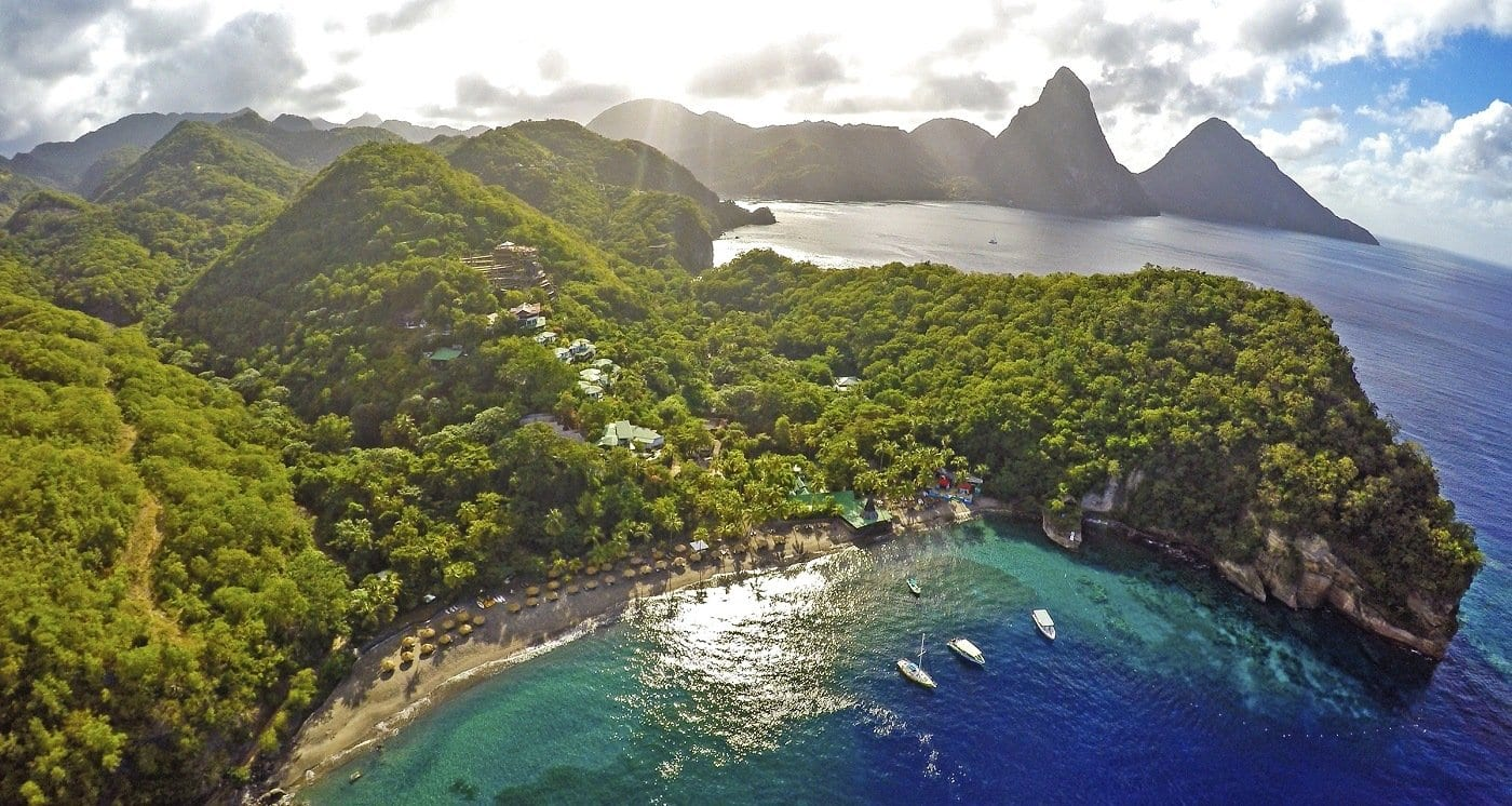 Anse Chastinet by the Soufriere Bay in Saint Lucia.