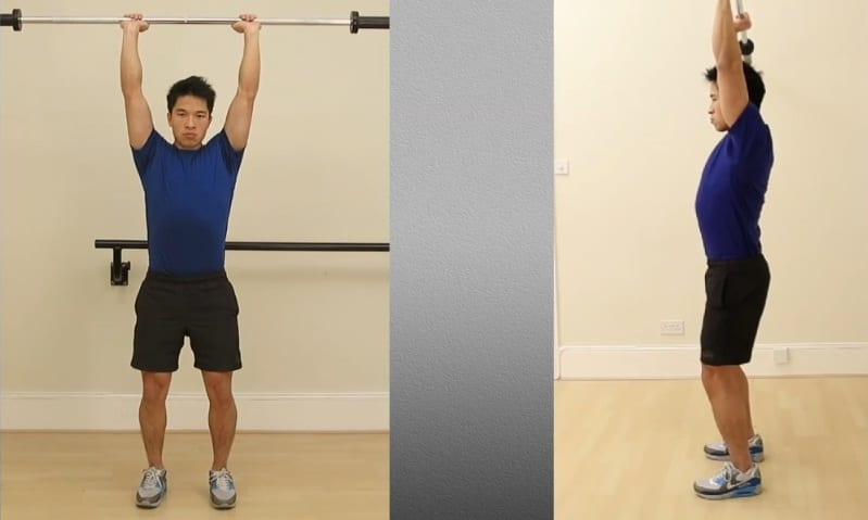 2b - Standing Barbell Shoulder Press