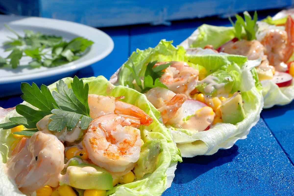Shrimp Avocado Lettuce Cups