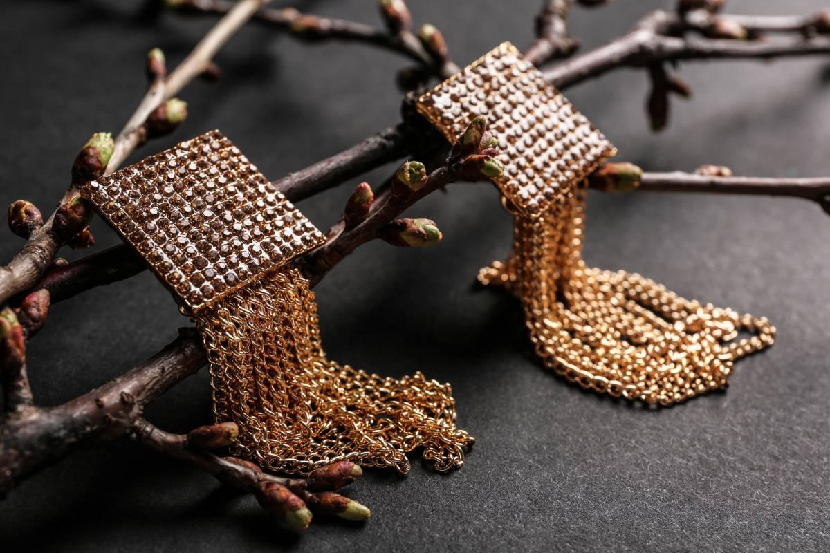 Gold earrings on tree branch