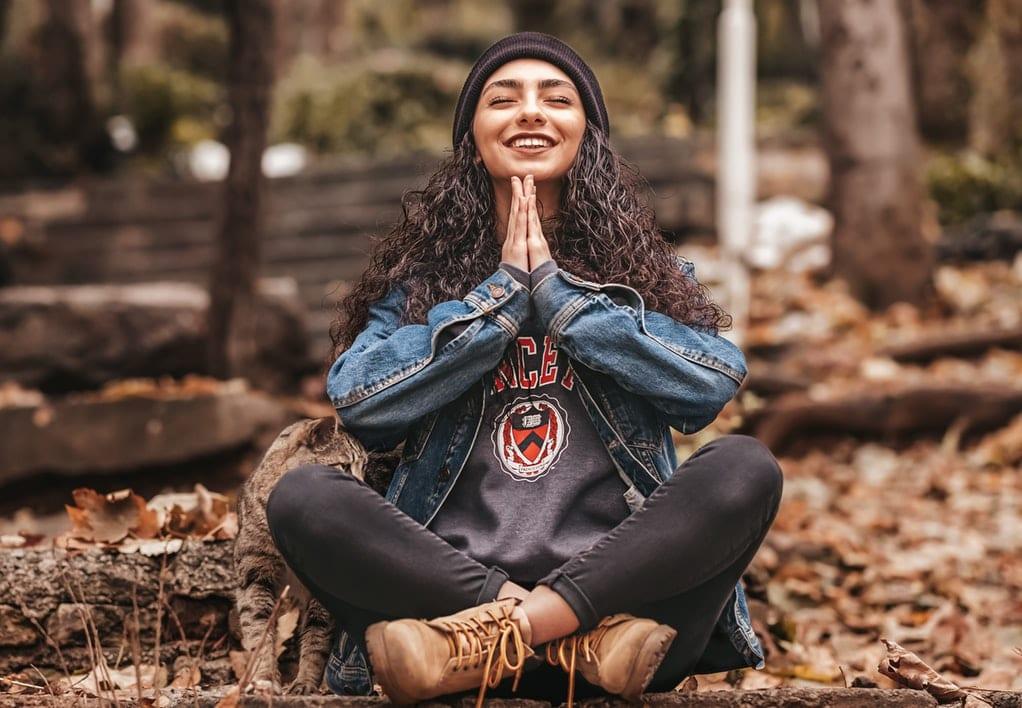 Girl Meditating in Nature