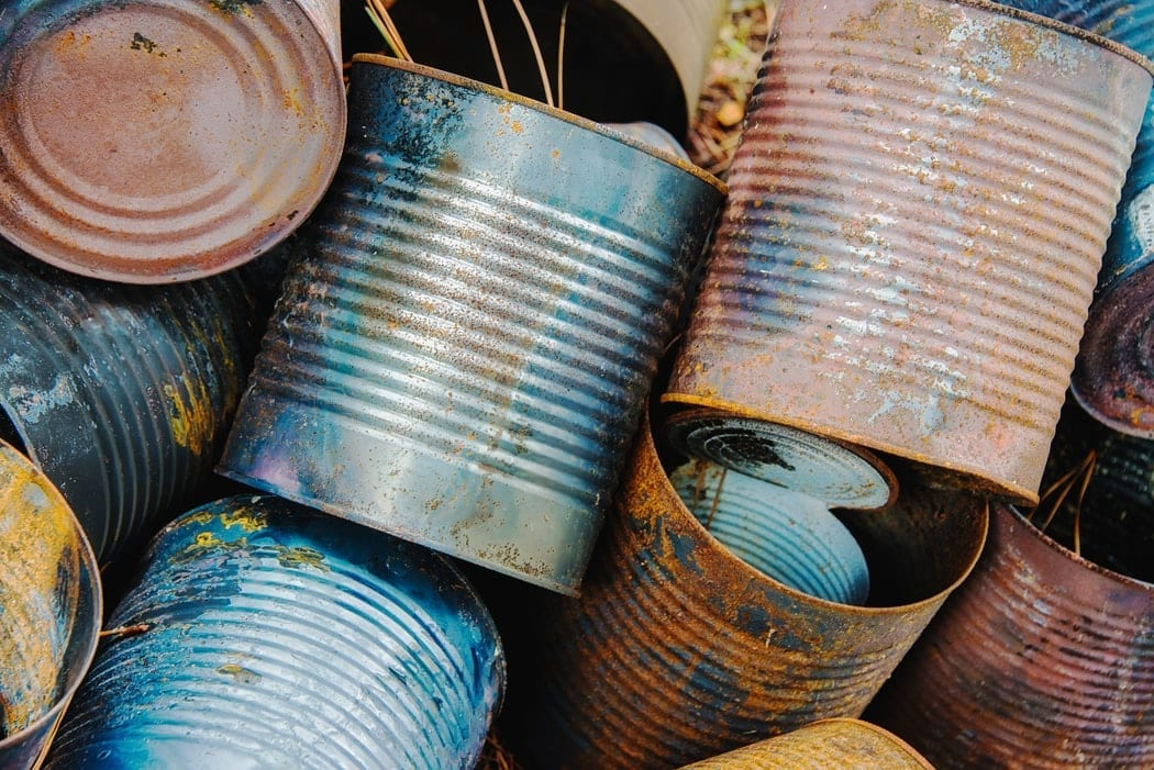 Blue and Red Tin Cans
