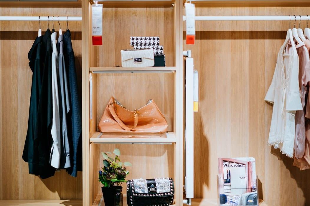 Organized wooden closet