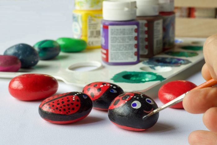 Painting Stones for Earth Day